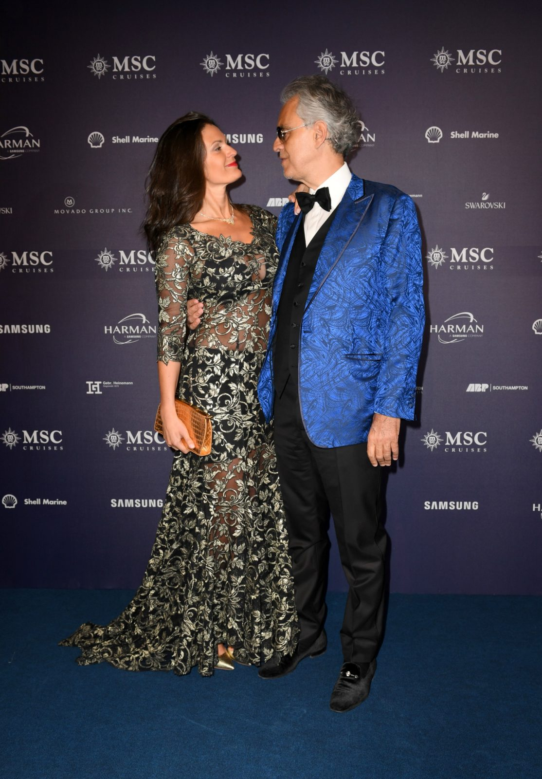 Andrea Bocelli stepped out with wife Veronica Berti to attend the naming ceremony of the MSC Bellissima in Southampton on Saturday night. Source: Getty