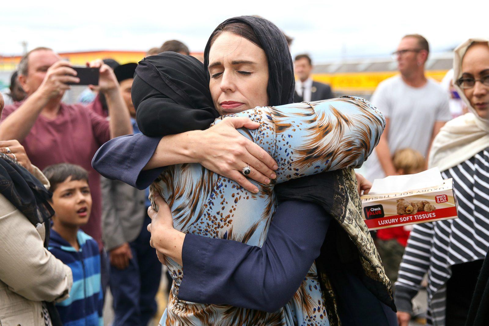 Jacinda Ardern embraced mourners in Christchurch. Source: Getty.
