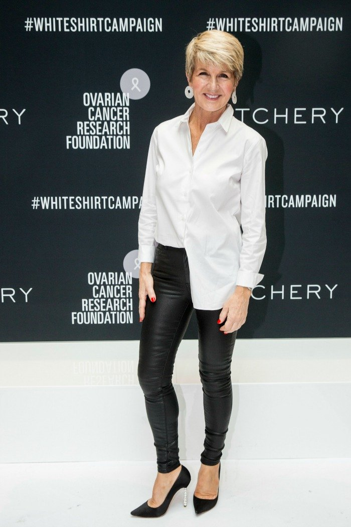 Julie Bishop looked super stylish in black leather pants and a crisp white shirt as she raised awareness for ovarian cancer.