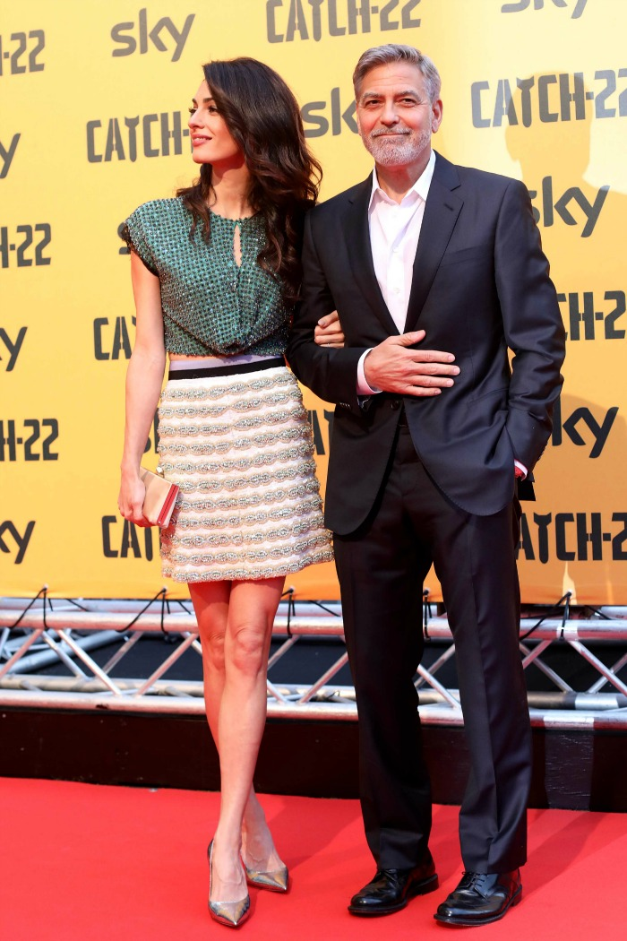 The couple looked smitten at the Rome premiere of George's new show Catch 22. Source: Getty.