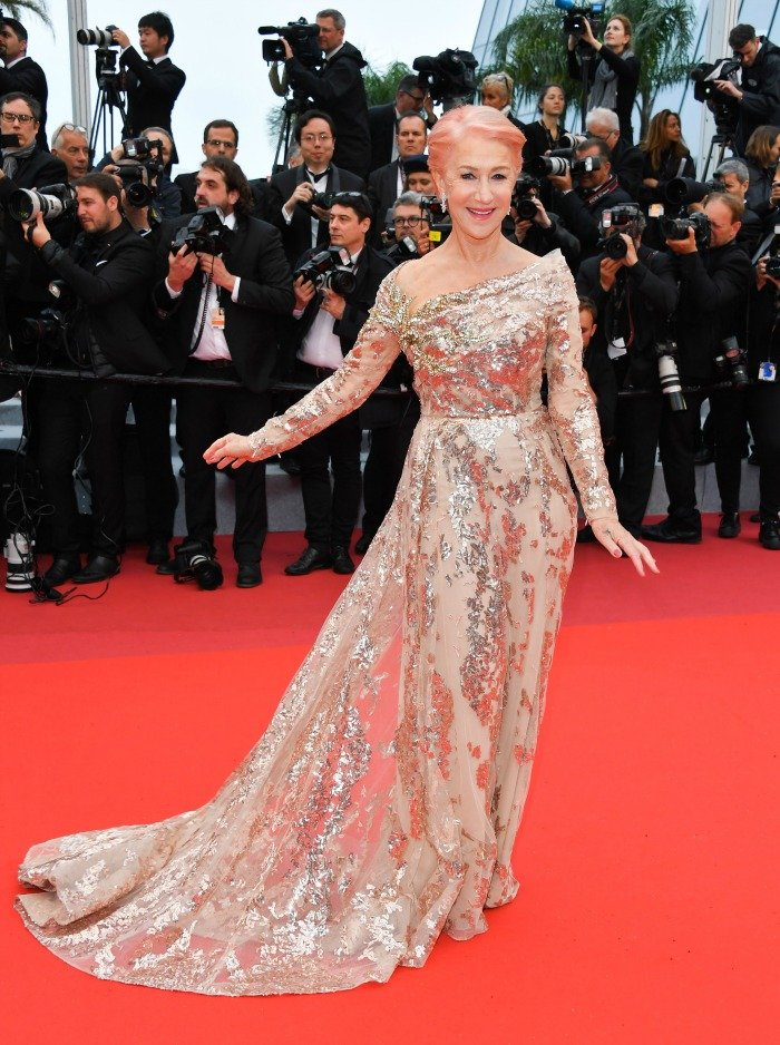 Dame Helen Mirren debuted a striking new look at the Cannes Film Festival earlier this week. Source: Getty