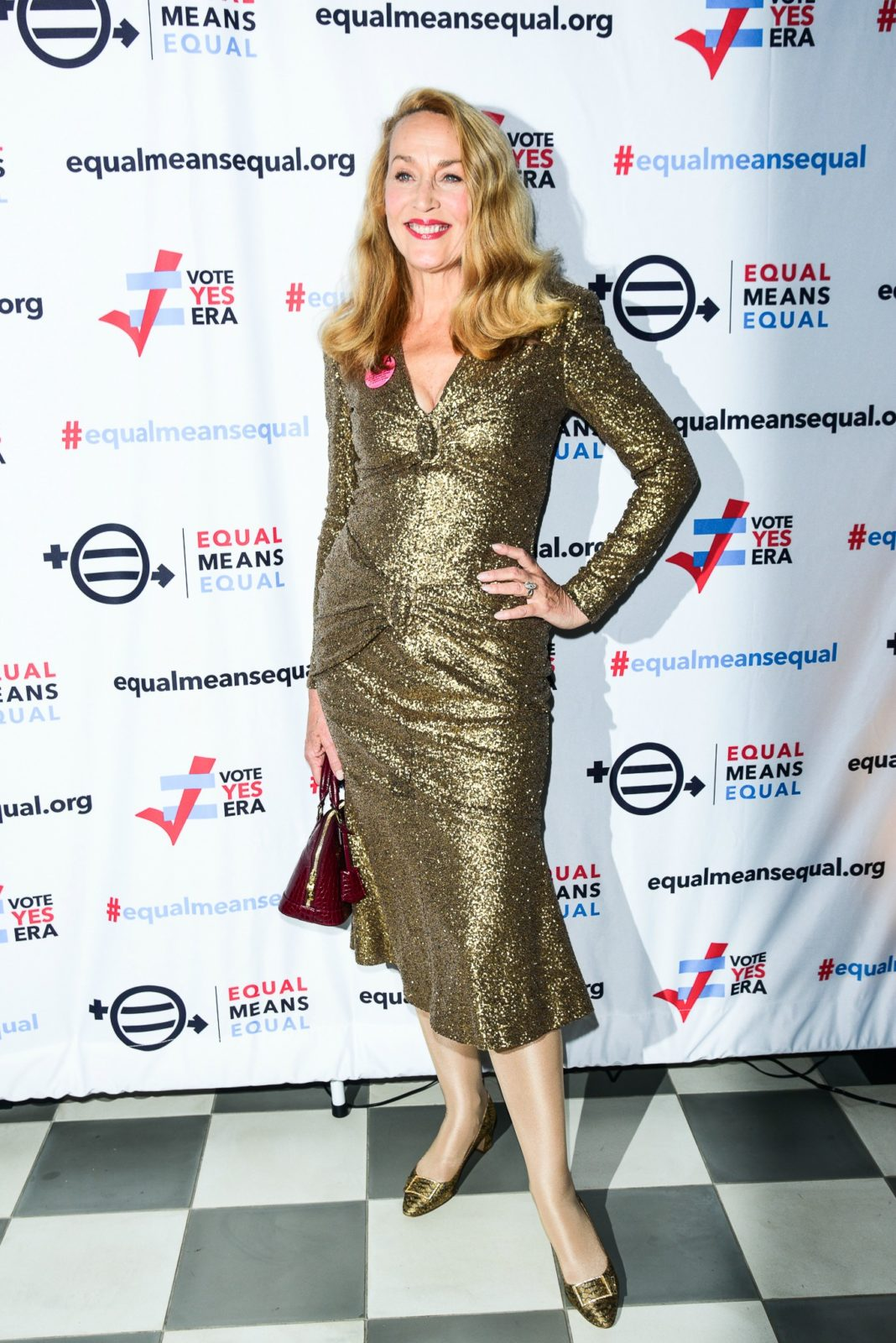 Jerry Hall stole the show in the gold gown. Source: Getty.