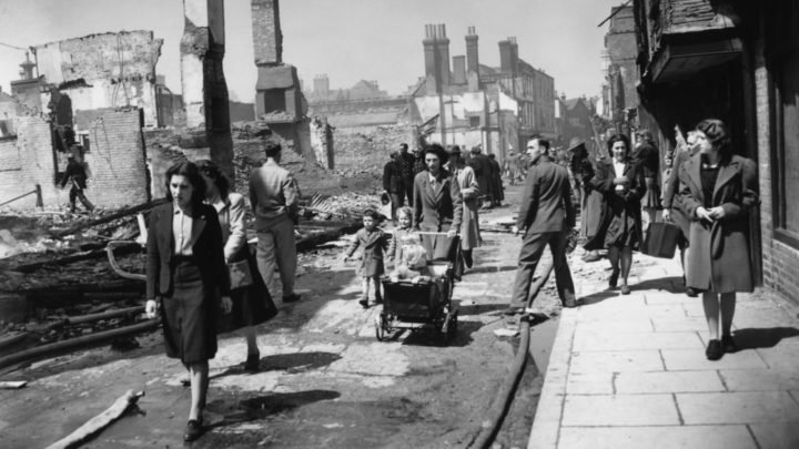 Many families were left homeless during World War II bombing raids, including Violet's. Source: Central Press/Getty Images