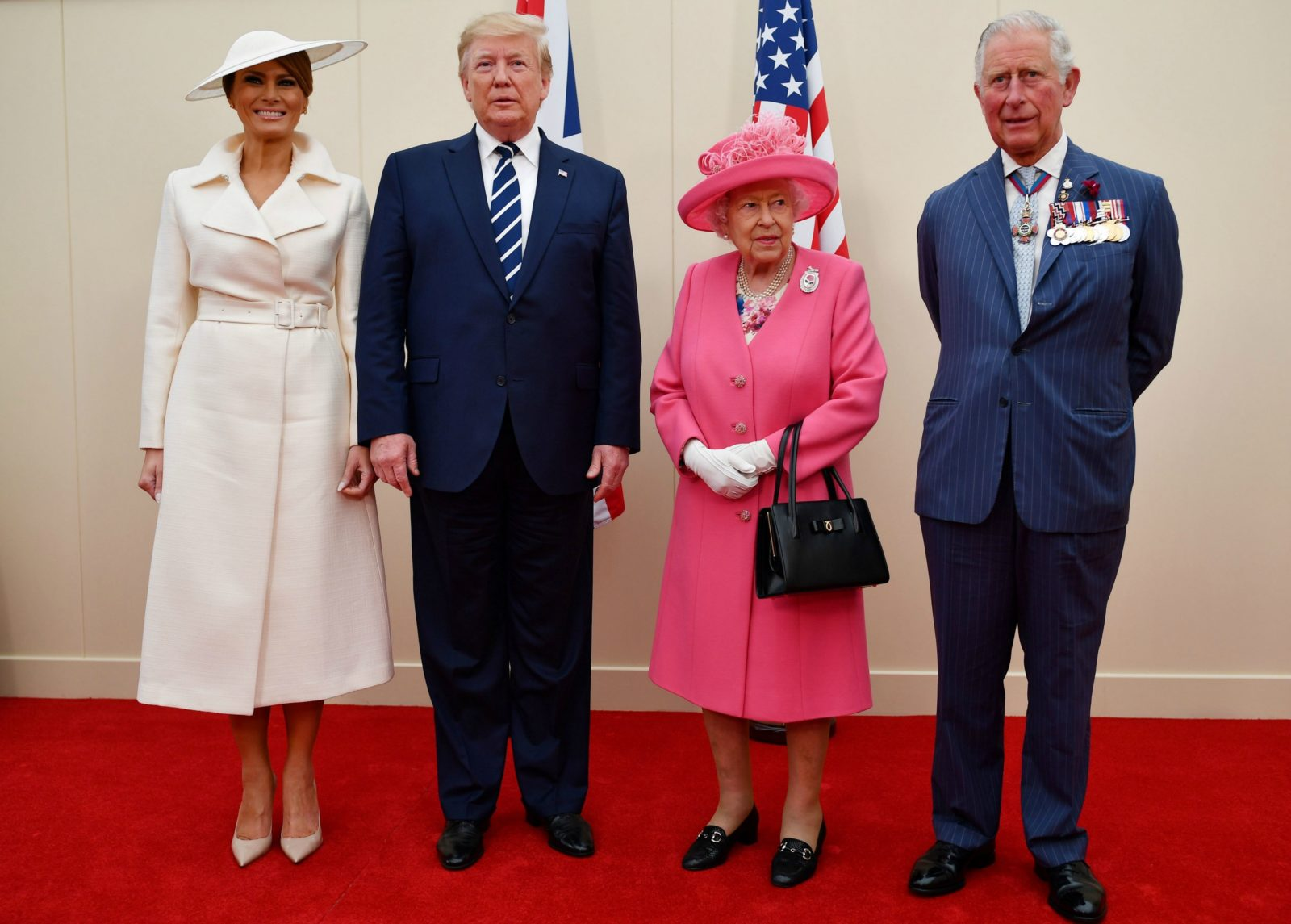 The Trumps joined the Queen and Prince Charles for the ceremony. Source: Getty.