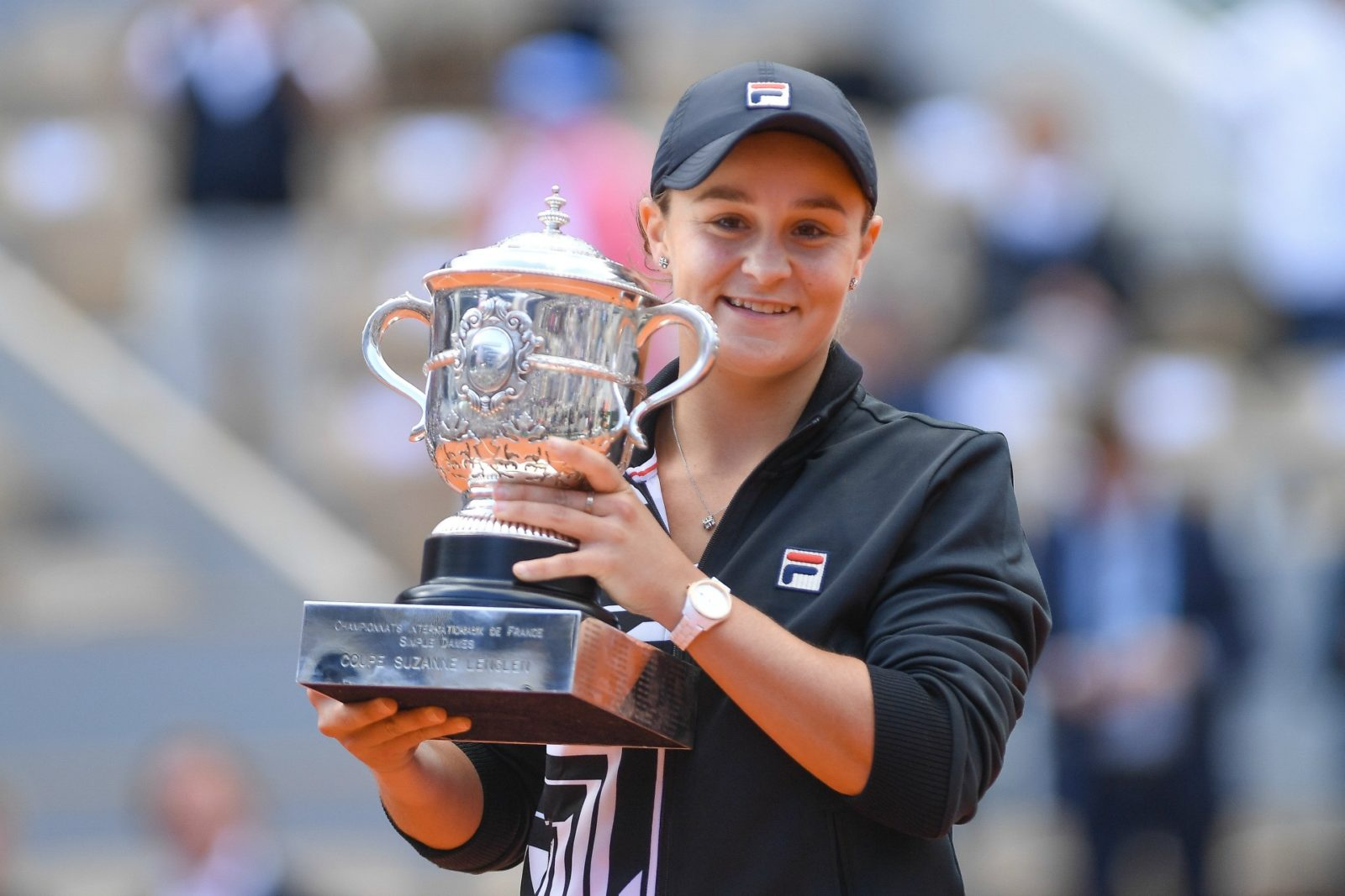 Ash Barty and her trophy after winning the French Open.