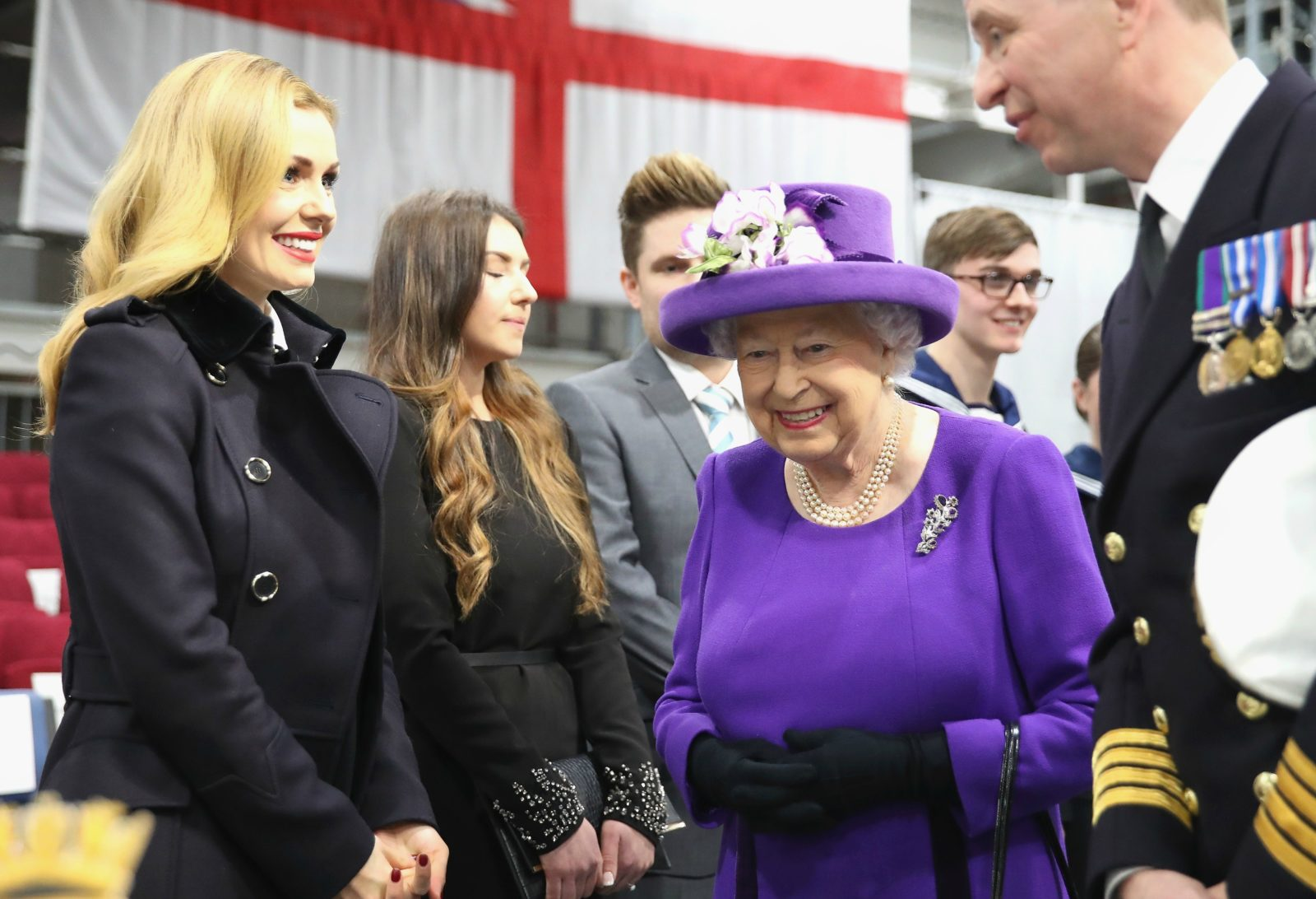 Katherine with the Queen and William at the Commissioning Ceremony of HMS Queen Elizabeth on December 7, 2017. Source: Getty.