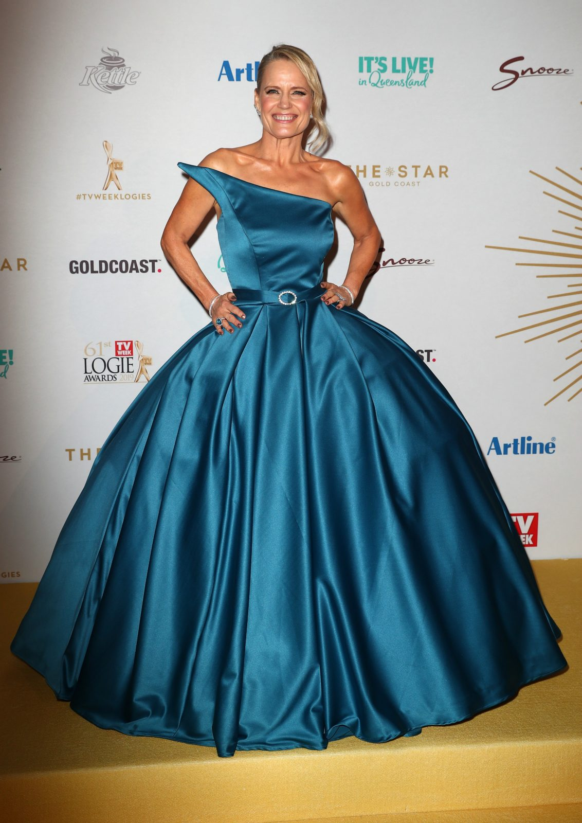 Shaynna Blaze opted for an extravagant blue dress. Source: Getty.