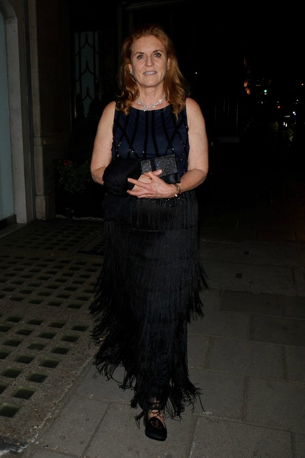 Sarah Ferguson went all out in the full-length black dress. Source: Getty.
