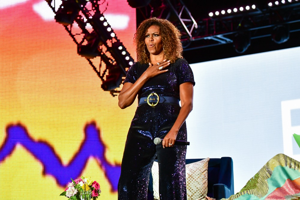 Michelle Obama looked fabulous as she took to the stage at the 2019 ESSENCE Festival in New Orleans, Louisiana. Source: Getty