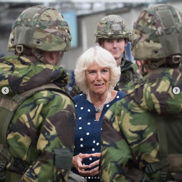 Camilla stopped to chat to servicemen on the outing. Source: Instagram/Clarence House.