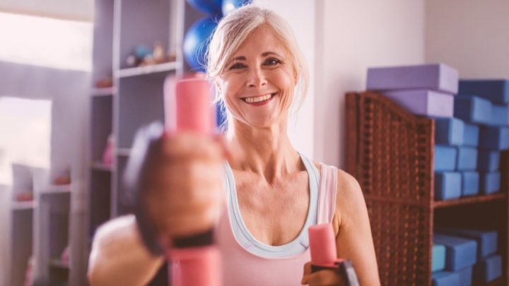 Mild resistance training using light hand weights is a good form of exercise for women living with incontinence.