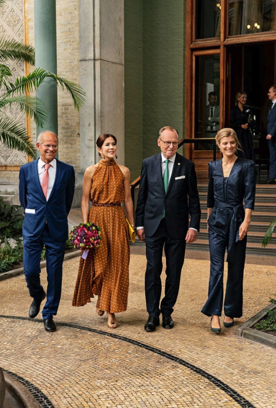 Princess Mary looked classy and elegant in an orange polka dot dress. Source: Facebook/Det danske kongehus.