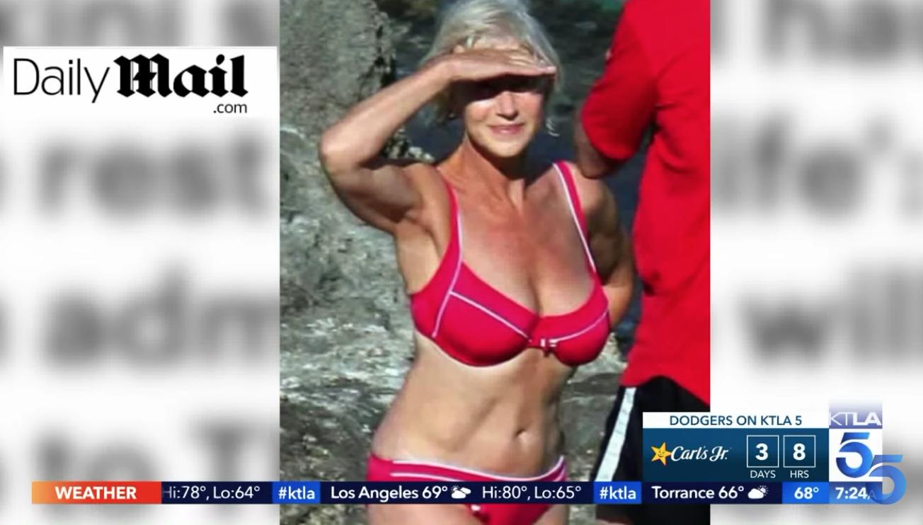 The bikini photo of Helen Mirren went viral in 2008. Source: YouTube/KLTA5.