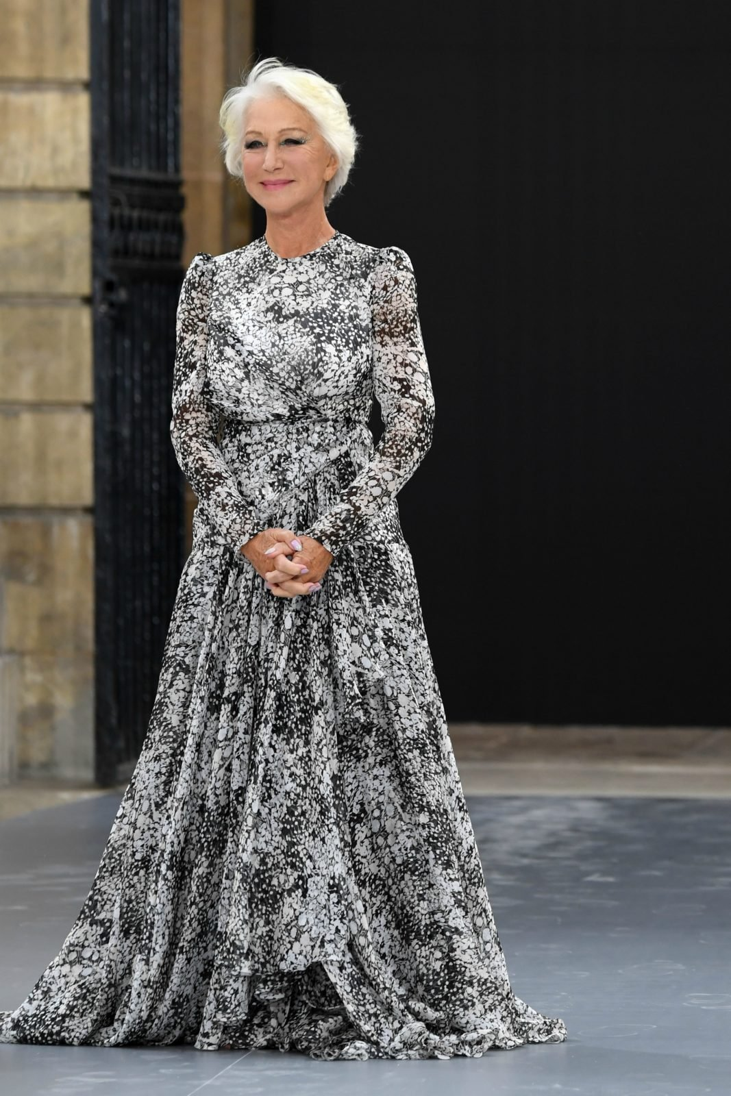 Helen Mirren stood out in the Giambattista Valli dress. Source: Getty.