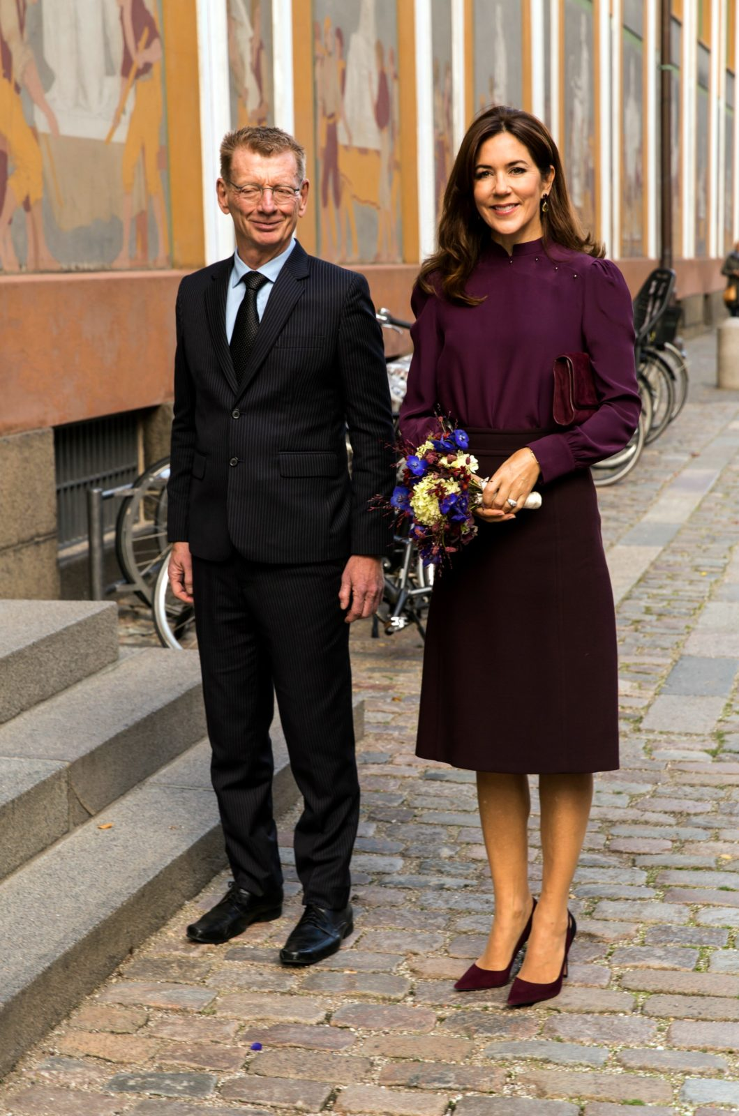 Princess Mary opted for a classy skirt and blouse combo. Source: Getty.