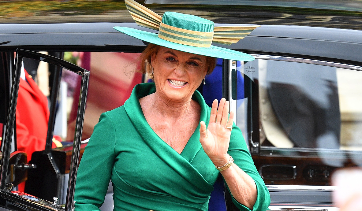 Sarah Ferguson stole the show in green at Princess Eugenie's wedding. Source: Getty.