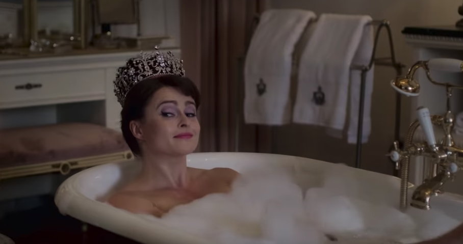 The Crown season three will even cover Princess Margaret's bath scene. Source: YouTube/Netflix.
