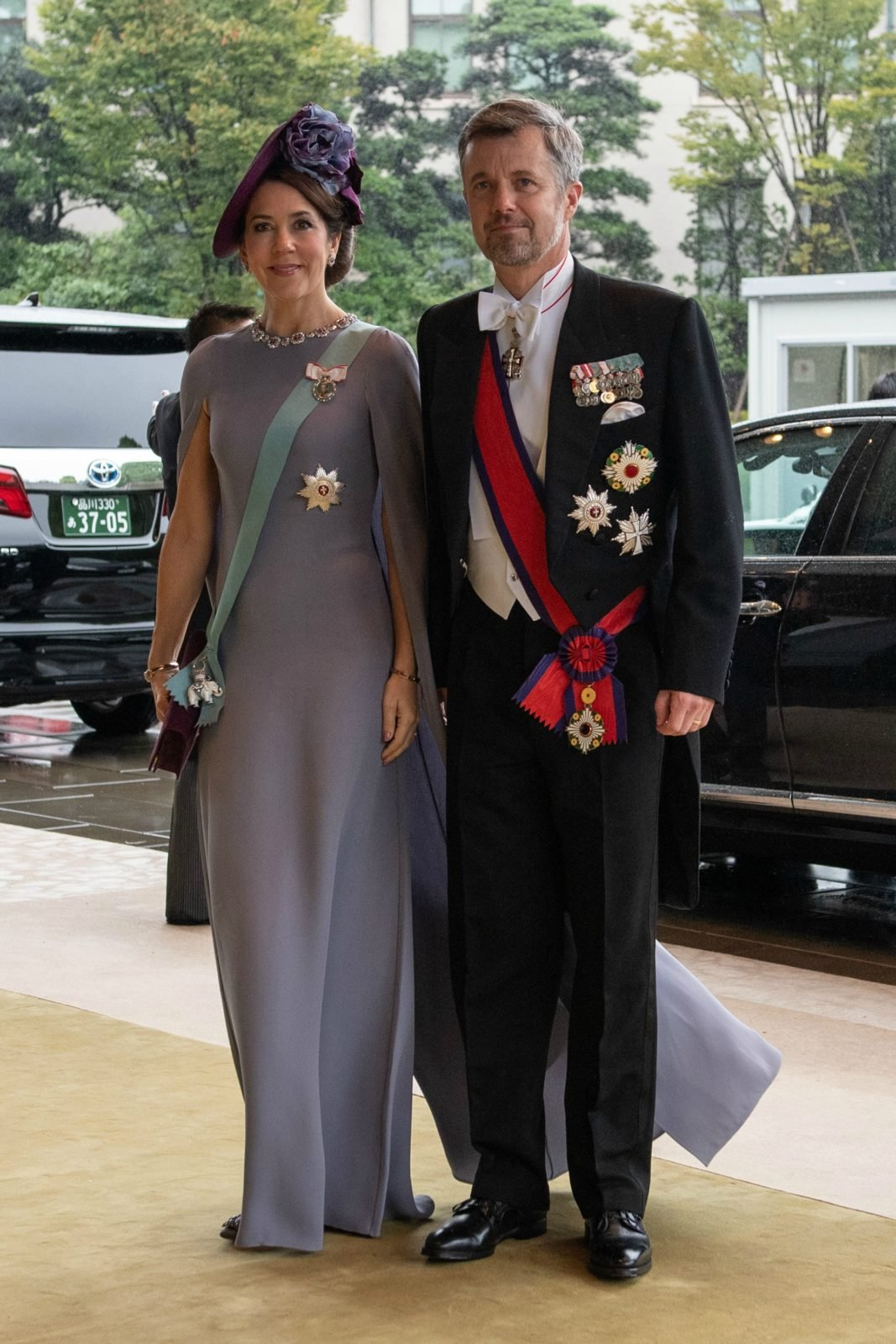 Princess Mary opted for a sleek grey floor-length dress for the enthronement ceremony in Japan. Source: Getty.