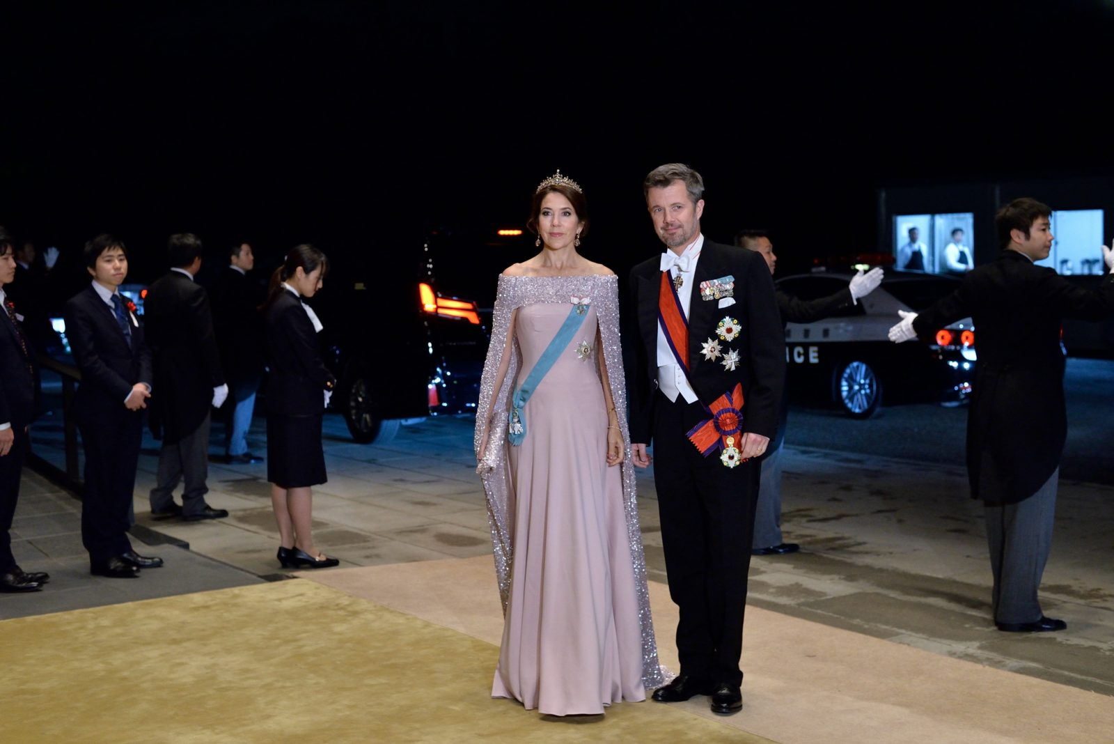Princess Mary swapped into a dazzling ball gown for the evening at the Imperial Palace. Source: Getty.