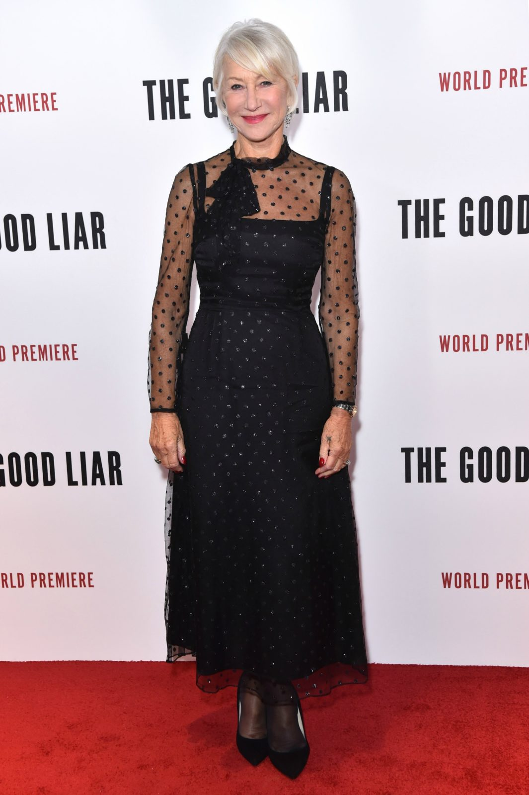 Helen Mirren stole the limelight in a sheer-panelled black dress for The Good Liar premiere. Source: Getty.