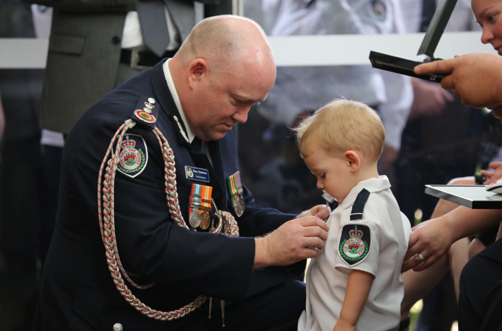 Medal presented to dead Australian firefighter's toddler