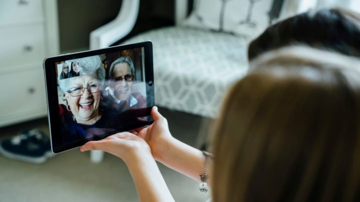 Grandparents are using technology to stay connected to their grandkids. Source: Getty
