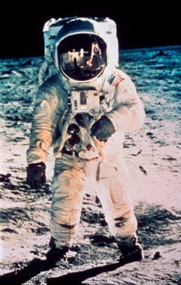 Edwin 'Buzz' Aldrin on the moon in 1969