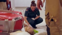 Channel 10 show Ambulance Australia show ambos rushing to the assistance of a 77-year-old woman whose fallen and can't get up. Source: Channel 10.