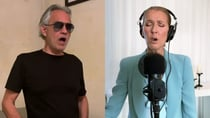 Andrea Bocelli and Celine Dion came together virtually to perform 'The Prayer' for their fans. Source: YouTube/ Global Citizen