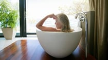 The thought of a hot bath was relaxing at first, but then she had the startling realisation, 'How the heck am I going to get out of here?' Source: Getty Images