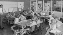 Baby Boomers would remember marching into class each day as kids. Source: National Archives of Australia
