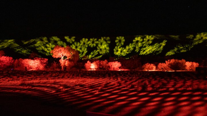 Parrtjima takes over Alice Springs with ten nights of light installations from a number of Indigenous artists set against the majestic MacDonnell Ranges.  Credit: Tourism NT/The Ebb & Flow of Sky & Country