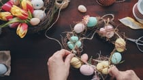 Get creative and entertain the grandkids with a homemade Easter wreath. Source: Getty