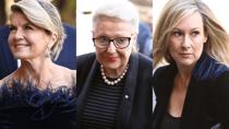 Julie Bishop, Bronwyn Bishop, Melissa Doyle pictured attending Carla Zampatti's state funeral on Thursday. Source: Getty.