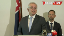 Scott Morrison became emotional as he spoke about the Australians who have died during the 20-year conflict. Source: Facebook/7News