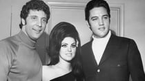 Tom Jones was often compared with early Elvis Presley in style and appeal. Here he poses with Elvis and his wife Priscilla in 1968. Source: Getty
