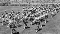Marching girls taking part in the opening ceremony of the Commonwealth Games, Perth, in November 1962. Source: Getty