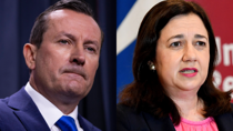 Mark McGowan and Annastacia Palaszczuk have both casted doubt on whether they will reopen their state borders once we hit vaccination target. Source: Getty