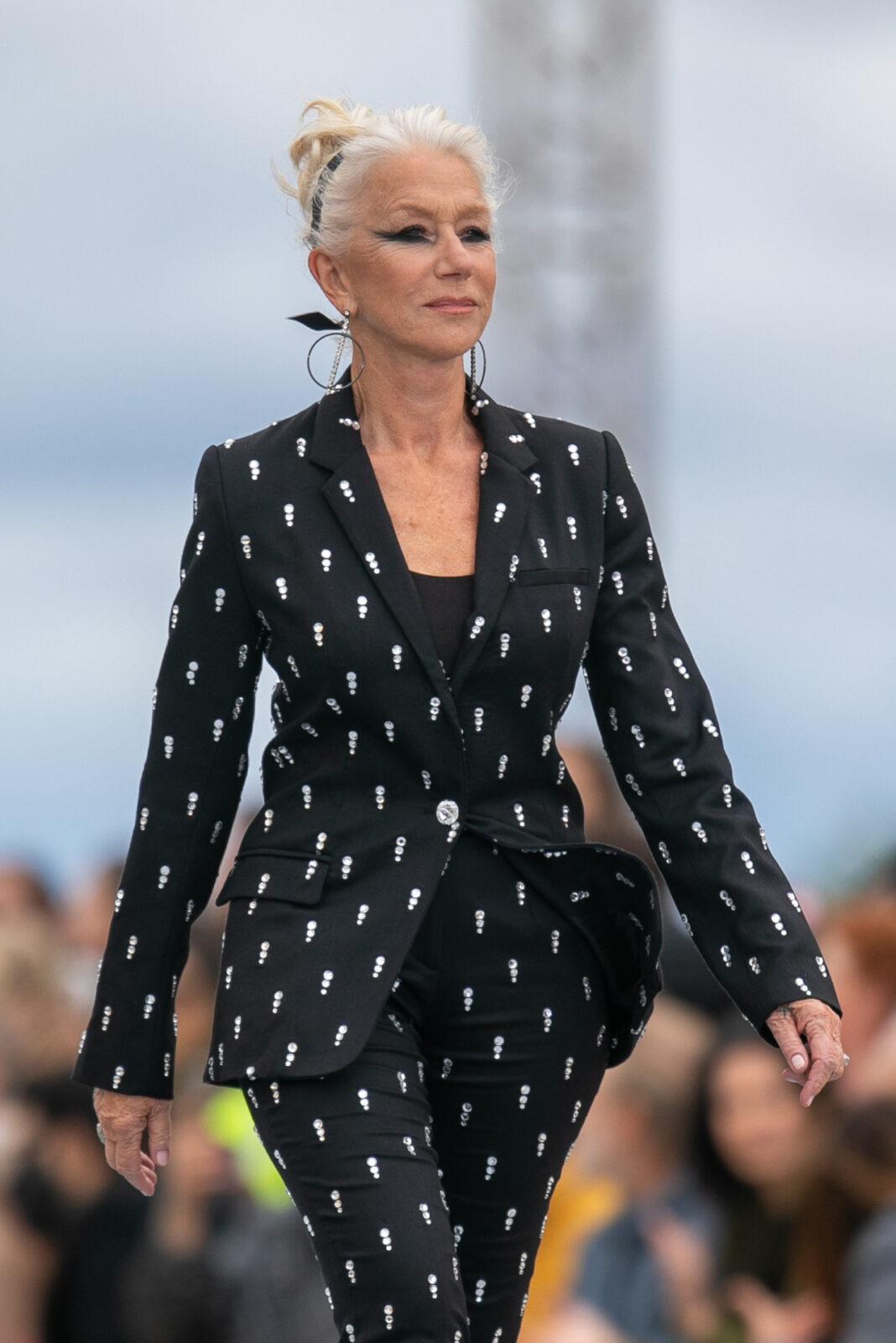 Helen Mirren on the runway for Loreal Paris, Paris Fashion Week